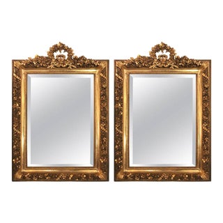 Gilt Gesso & Wood Ribbon Tassel Rose Carved Mirrors - A Pair For Sale