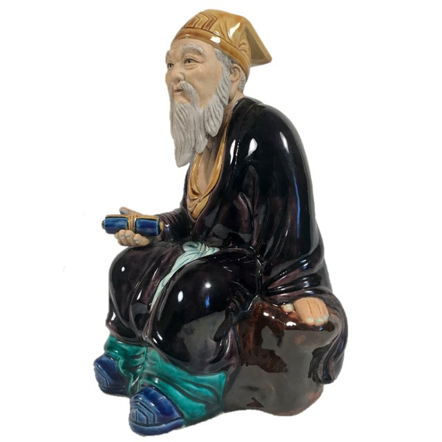 Vintage Large Chinese Hand Painted Mudman Figure For Sale - Image 4 of 13