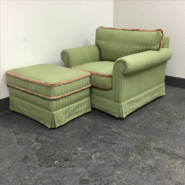 Green Fringed Arm Chair & Ottoman - Image 8 of 9