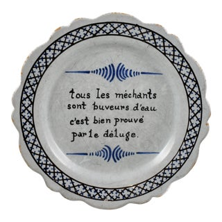 Login 18th C. Nevers French Revolution Motto Tin-Glazed Dish For Sale