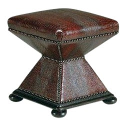Modern Brown Embossed Crocodile Leather Shaped Ottoman For Sale