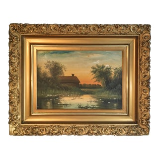 Antique Landscape Painting in Ornate Frame