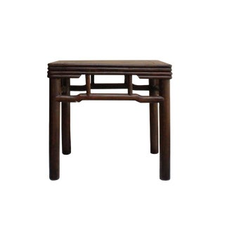 Chinese Handmade Vintage Finish Square Wood Top Stool Table For Sale