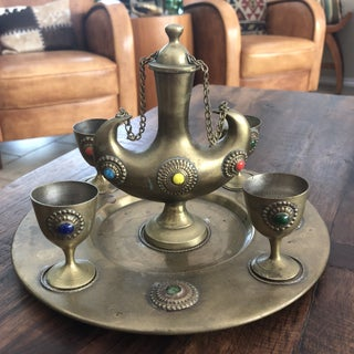 1960s Moroccan Brass and Glass Cabochon Liquor Serving Set of 6 Preview