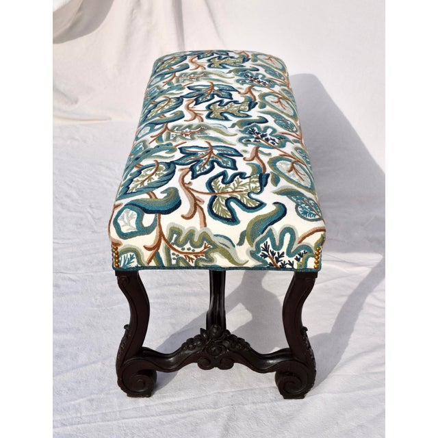 Mid 19th Century Mid 19th Century Antique American Empire Upholstered Scroll Form Bench For Sale - Image 5 of 12