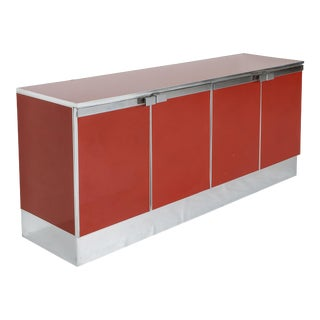 1980s Red Lacquer and Chrome Credenza For Sale