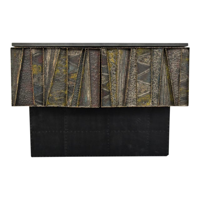 Vintage Mid-Century Paul Evans Deep Relief Cabinet For Sale