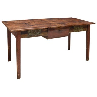 Rustic Danish Pine Work Table For Sale