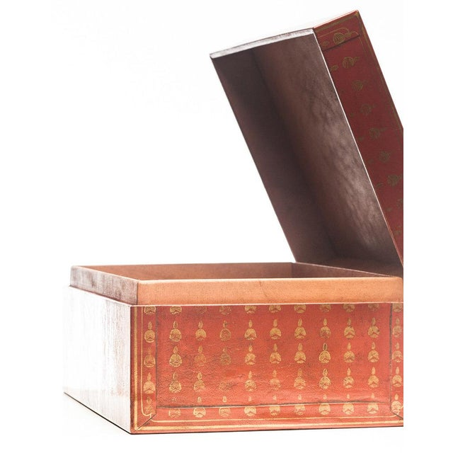 Lawrence and Scott, Inc Lawrence & Scott Mandarin Red Bells Leather Box For Sale - Image 4 of 7