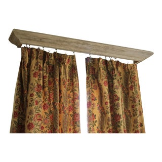 Early 20th Century French Floral & Stripe Linen Curtains - a Pair For Sale