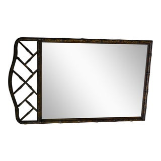 "HENREDON Asian Campaign Style Faux Bamboo Mirror 48""H x 29""W For Sale"