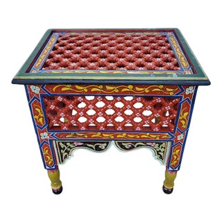 Moroccan Rectangular Wooden Side Table, 11lm24 For Sale