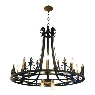 Black & Gold Iron 12 Light Chandelier For Sale