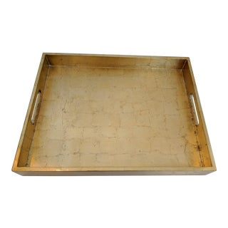 Hollywood Regency Gold Leaf Lacquer Tray