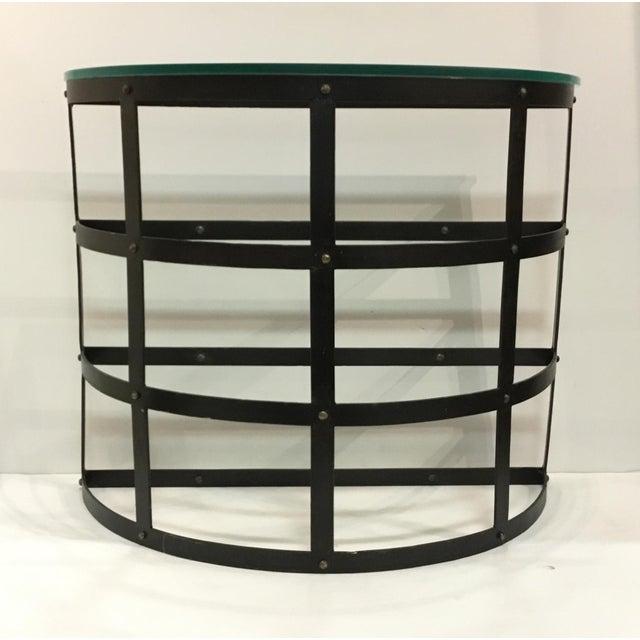 Stylish Arteriors modern metal and glass blackwell console table/demi-lune, showroom floor sample, original retail $2100