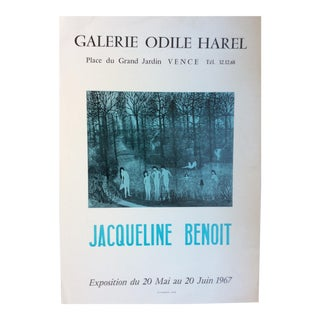 Beautiful Women Bathing Original Jacqueline Benoit Art Exhibition Poster Dated 1967 For Sale