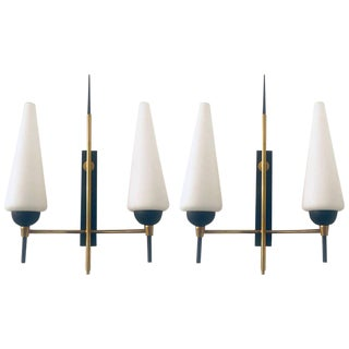 1960s French Lune Mid-Century Wall Lights - a Pair For Sale