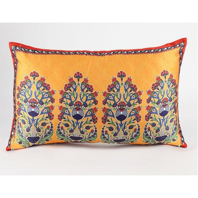Early 21st Century Bohemian Silk Cushion Orange Red - a Pair For Sale - Image 5 of 9