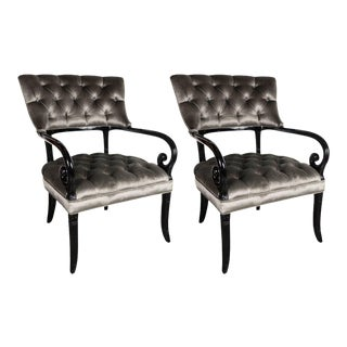 Pair of Hollywood Regency Scroll Occasional Chairs by Grosfeld House