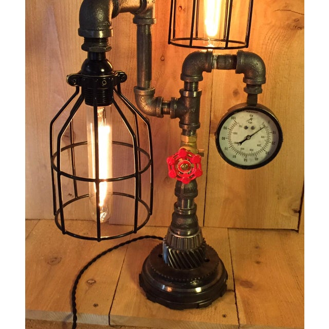Industrial Steampunk Bulb Cage Lamp - Image 5 of 6