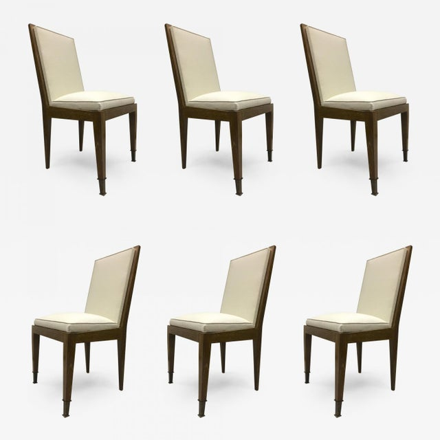Marc Duplantier Rare Set of 6 Oak Dining Chairs For Sale - Image 9 of 9