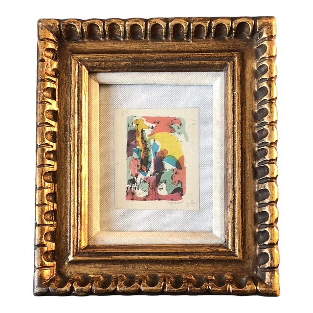 Vintage Original Miniature Ralph Nelson Abstract Painting Vintage Frame 1950's For Sale