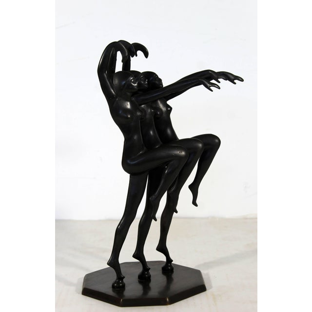 Art Deco Art Deco Bronze Table Sculpture Nude Dancers Signed by Henri Lautier For Sale - Image 3 of 11