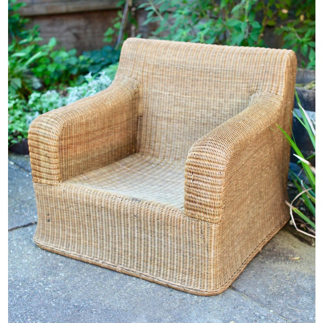 Michael Taylor 1970s Vintage Sculptural Wicker Armchairs & Ottomans- 4 Pieces For Sale - Image 4 of 12