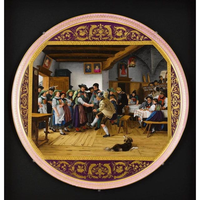 """A wonderful large Vienna porcelain tray with a beautifully painted genre scene entitled """"Die Ainkunftam Tanzboden"""" after..."""