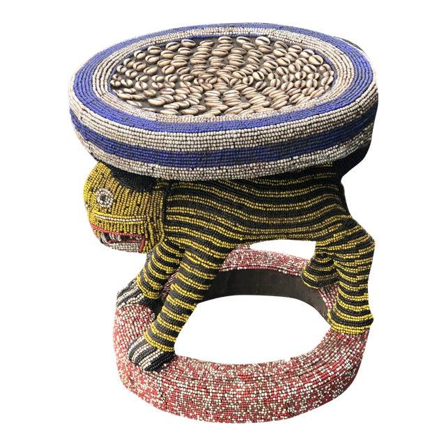"Lg African Beaded Wood Bamileke Stool /Table Cameroon 18.25'""h For Sale"