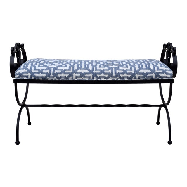 Wrought Iron Curule Base Bench For Sale