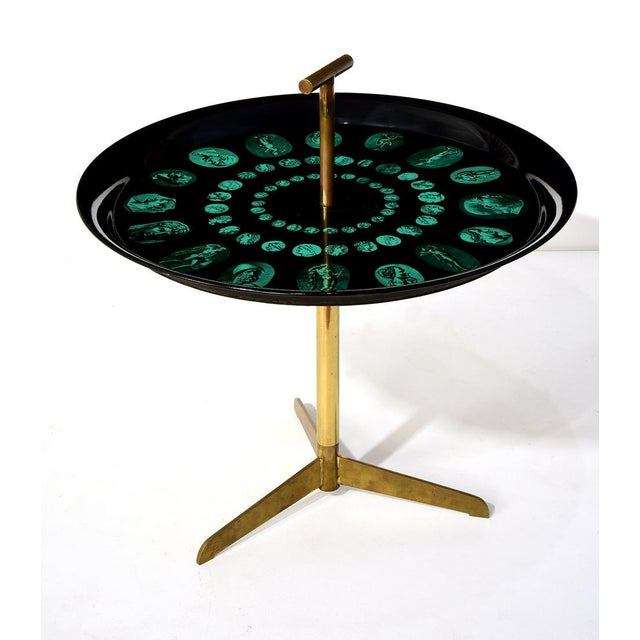 Black 1950s Mid-Century Modern Piero Fornasetti Tripod and Brass Serving Table For Sale - Image 8 of 8