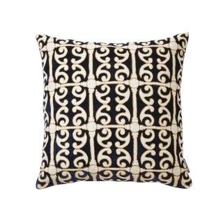 Petworth Blue & White Silk Velvet & Linen Pillow For Sale