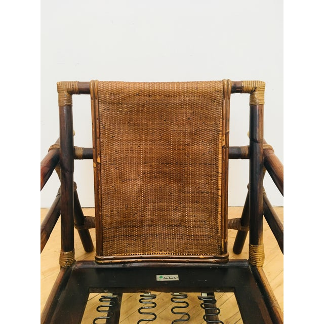 Brass Authentic Signed Ficks Reed Rattan Campaign Chair- 1954 For Sale - Image 7 of 13
