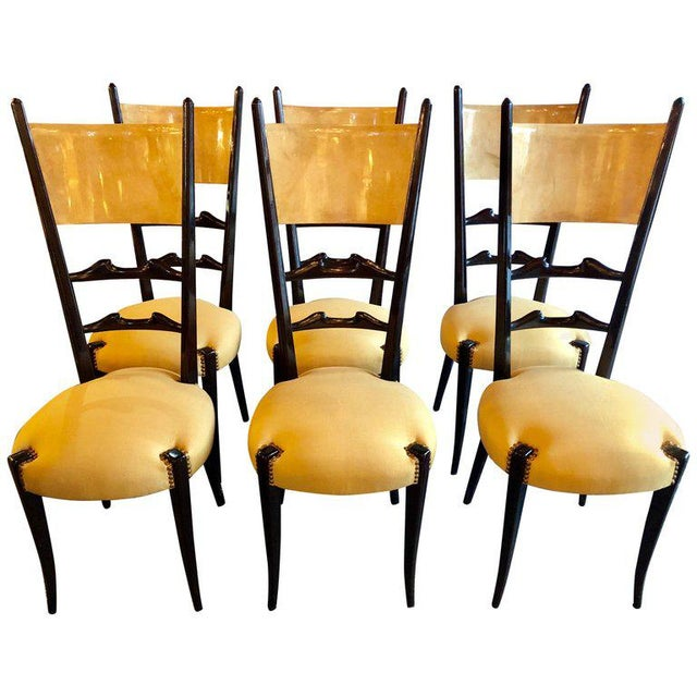 Set of Six Italian Aldo Tura Side Dining Chairs in Goatskin and Parchment For Sale - Image 13 of 13