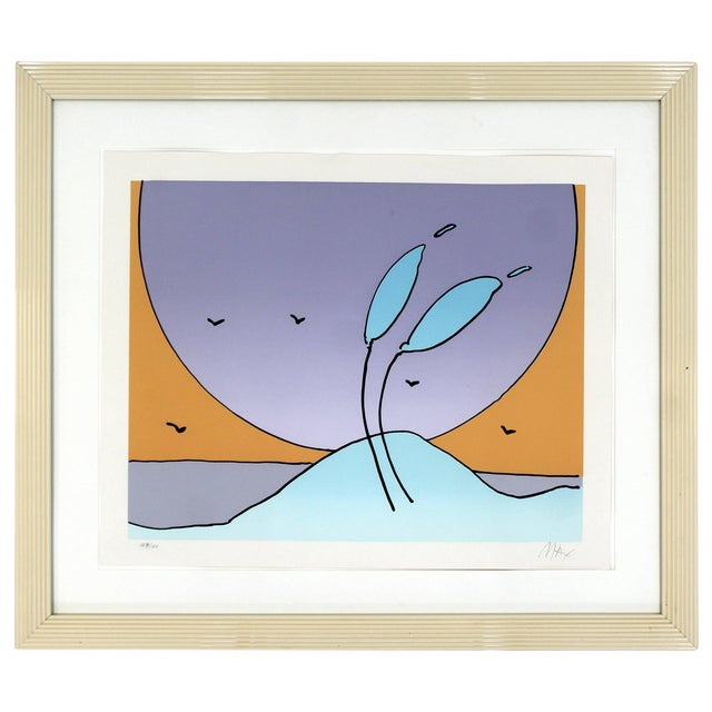 Mid-Century Modern Framed Space Flowers by Peter Max Signed and Numbered For Sale