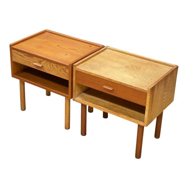 Hans Wegner Bedside Nightstand Pair Vintage Mid Century Modern Ry Mobler Teak Oak For Sale