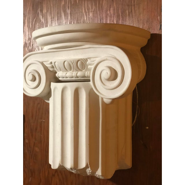 Stunning Ceramic/Porcelain Greek Column hardwired wall sconce. Perfect to light a hallway, entryway, or even to add mood...