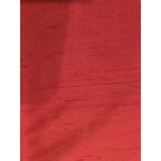 Custom Red Silk Tie Top Draperies - a Pair For Sale - Image 4 of 5