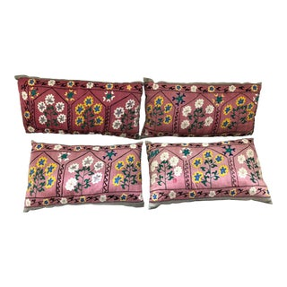 Asian Antique Suzani Large Fabric Pillows - Set of 4 For Sale
