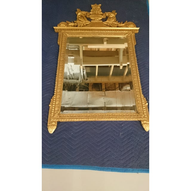 French Neoclassical Style Gold Leaf Finished Wall Mirror - Image 4 of 7