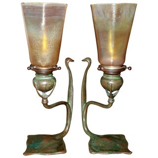 Pair Tiffany Studios Cobra Bronze Candlesticks With l.c.t. Favrile Lamp Shades For Sale