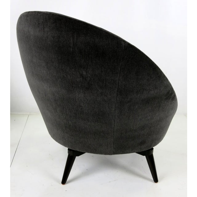 Jean Royère Velvet Swivel Egg Chairs - a Pair For Sale - Image 4 of 6