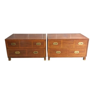 20th Century Campaign Milling Road for Baker Campaign Dresser Nightstands - a Pair For Sale