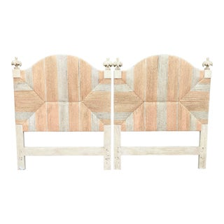 Vintage Wrapped Rush Twin Headboards - a Pair For Sale