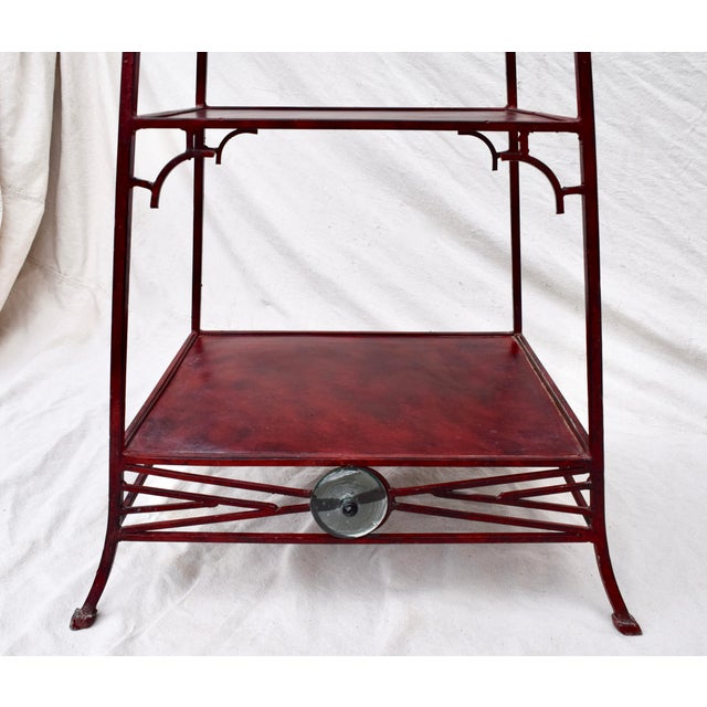 Red Iron Chinoiserie Pagoda Etagere by Palecek For Sale - Image 8 of 9
