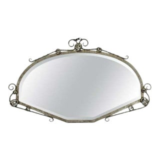 Art Deco Antique French Forge Iron Wall Mirror Attr. To P. Kiss or E. Brandt For Sale