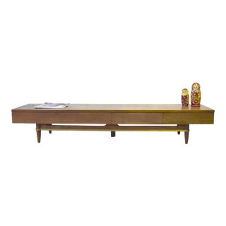 Long + Low Mid Century Modern Walnut Media Stand by American of Martinsville For Sale