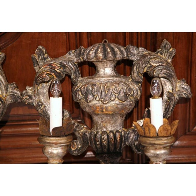 Italian Carved & Metal Two-Light Sconces With Silver Leaf Finish - A Pair For Sale - Image 5 of 8