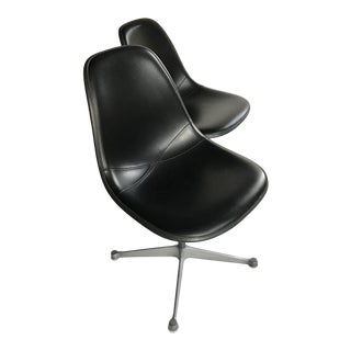 Eames for Herman Miller Upholstered Fiberglass Shell Chairs - A Pair